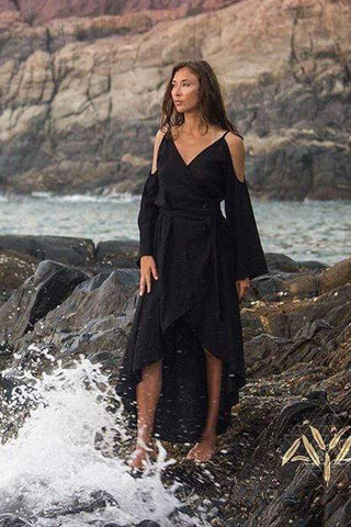 Black Linen Wrap Dress Adjustable Plus Size Sizing - AYA Sacred Wear