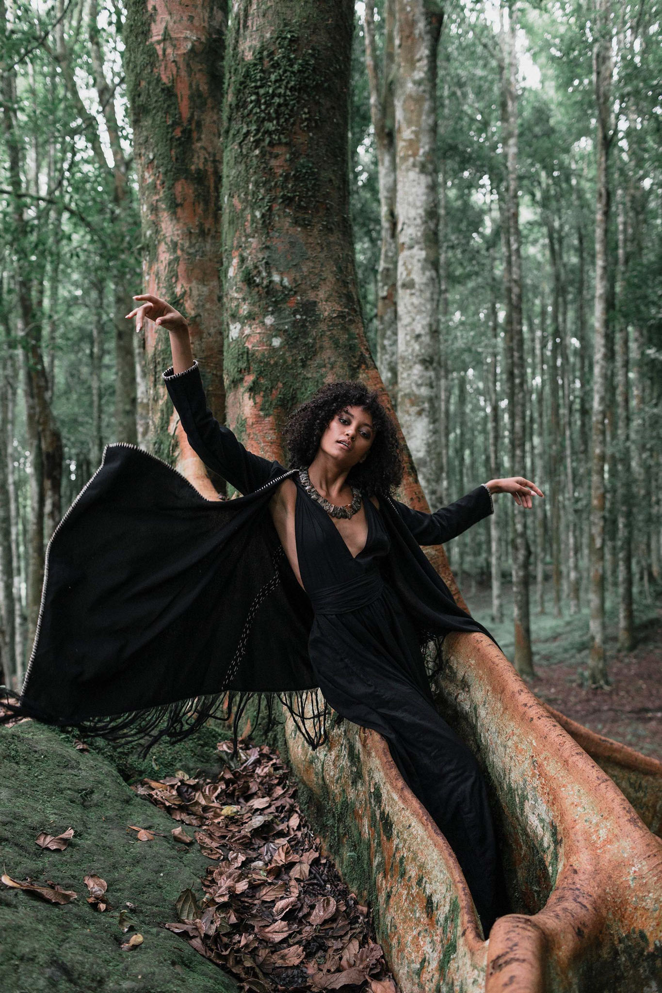 Bohemian Black Cardigan • Black Long Cotton Kimono Robe With Hand Embroidery - AYA Sacred Wear