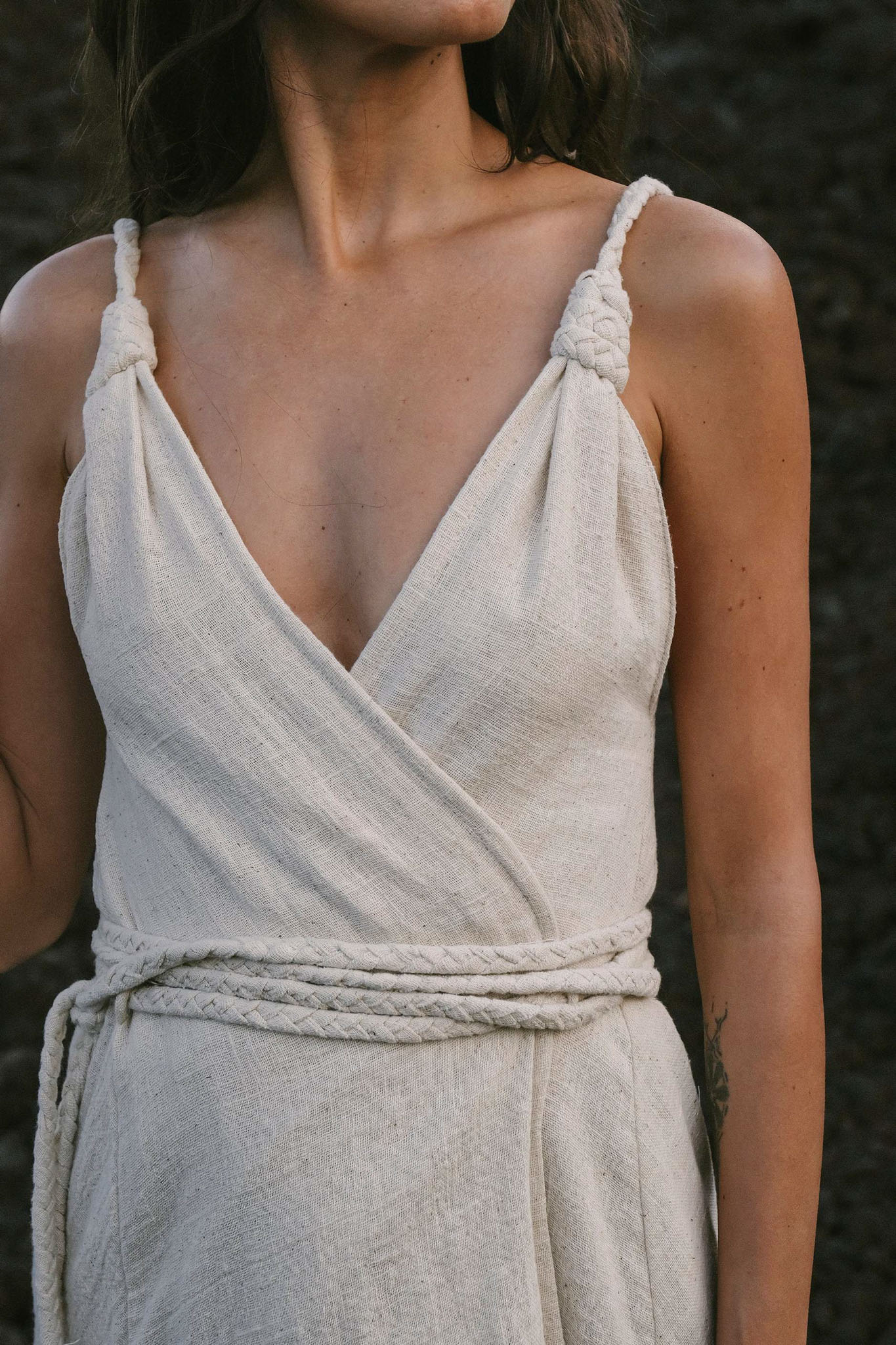 Off-White Handwoven Wrap Maxi Dress with Hand Loomed Back - AYA sacred wear