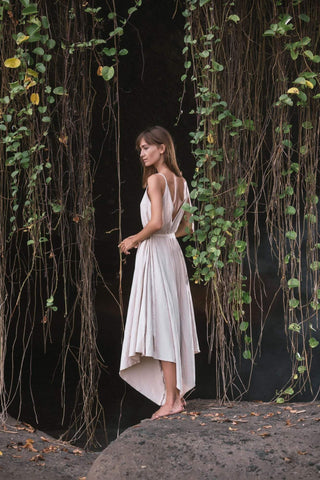 Off-White Linen Jumpsuit Dress, Romped Dress, Overall Dress - AYA Sacred Wear