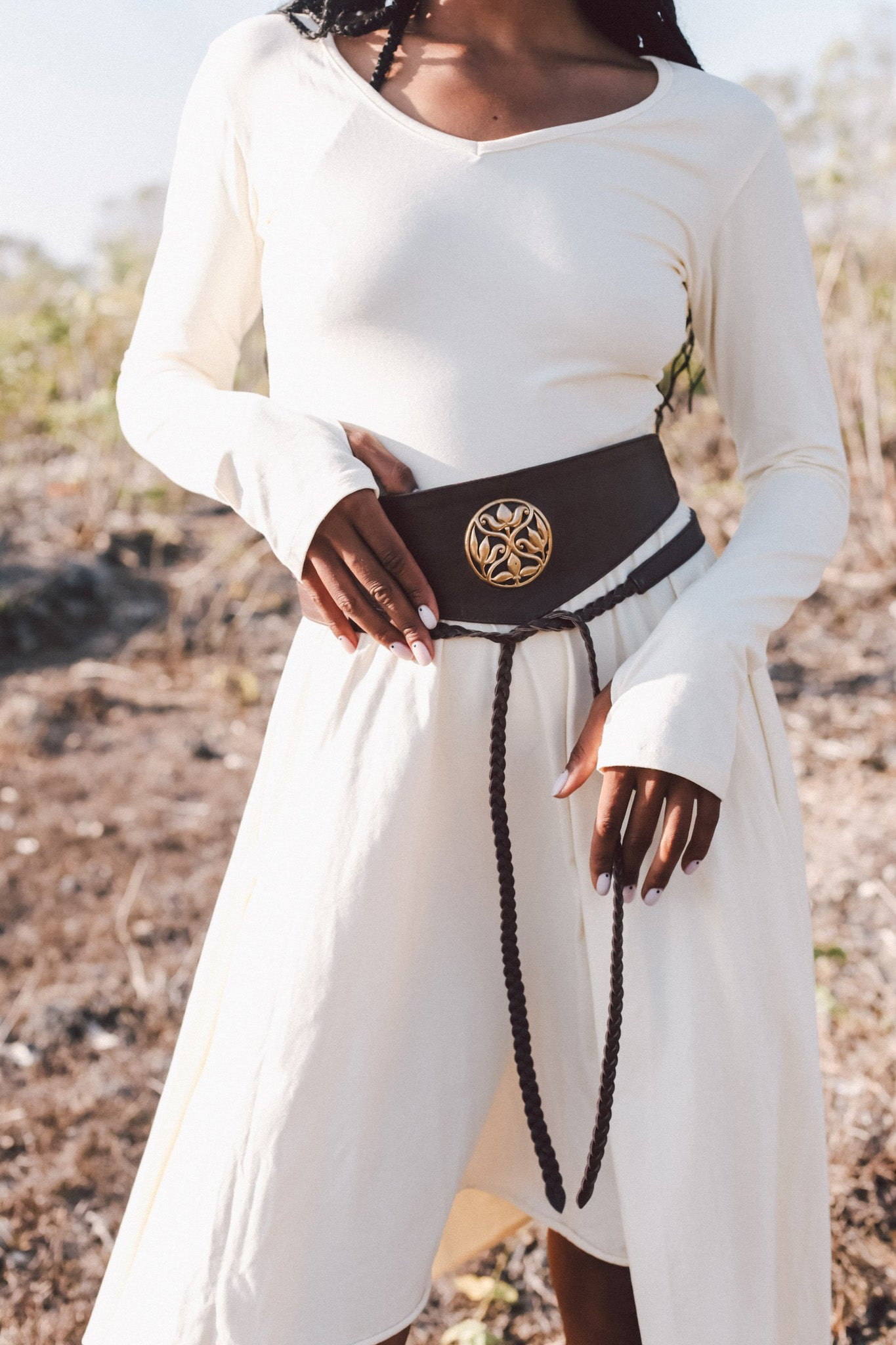Woman's Brown Leather Waist Belt with Gold Metal Emblem - AYA Sacred Wear