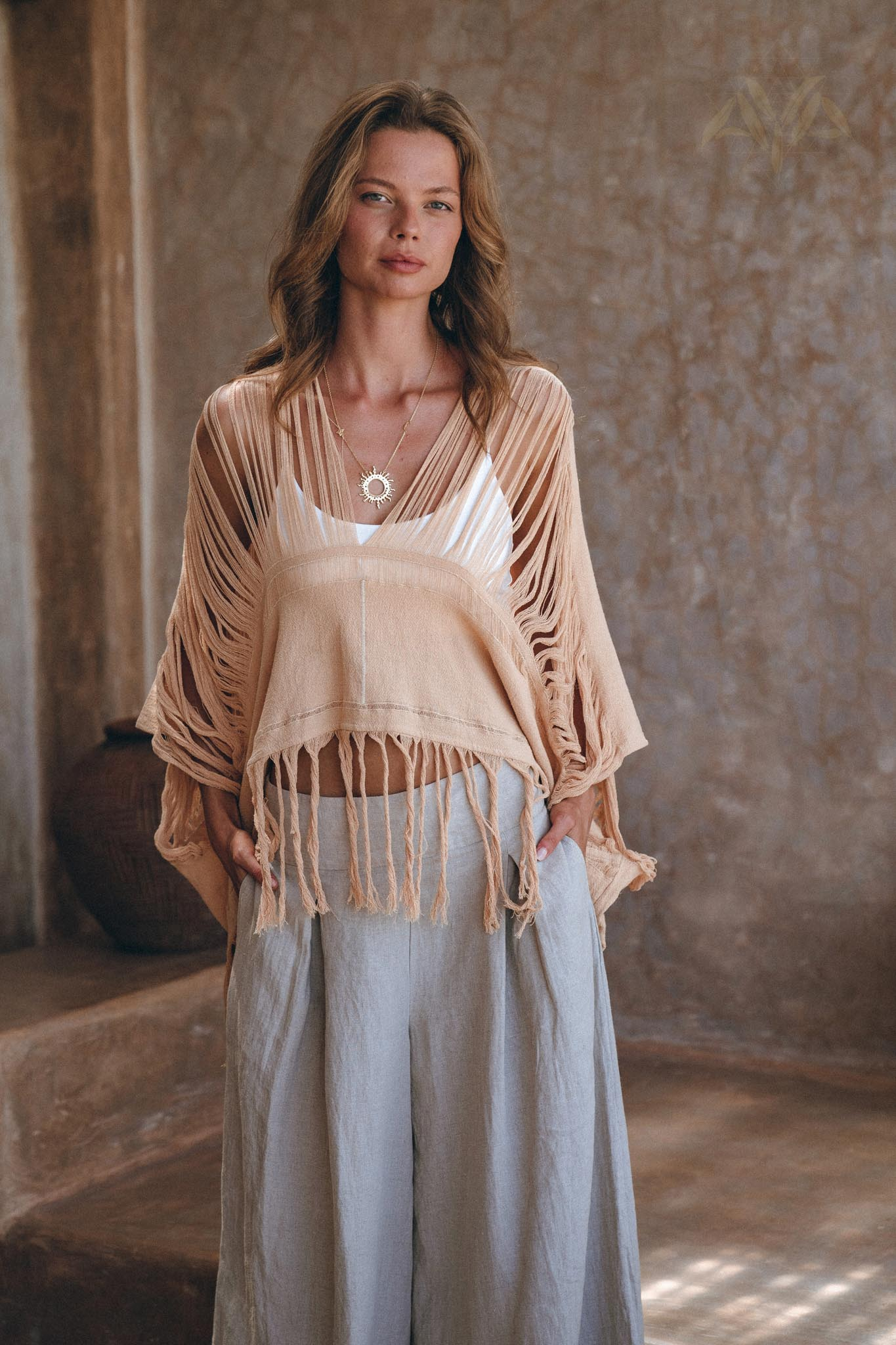 New! Boho Top • Bohemian Top • Boho Cover Up Women • Hand Loomed Cotton Blouse - AYA Sacred Wear
