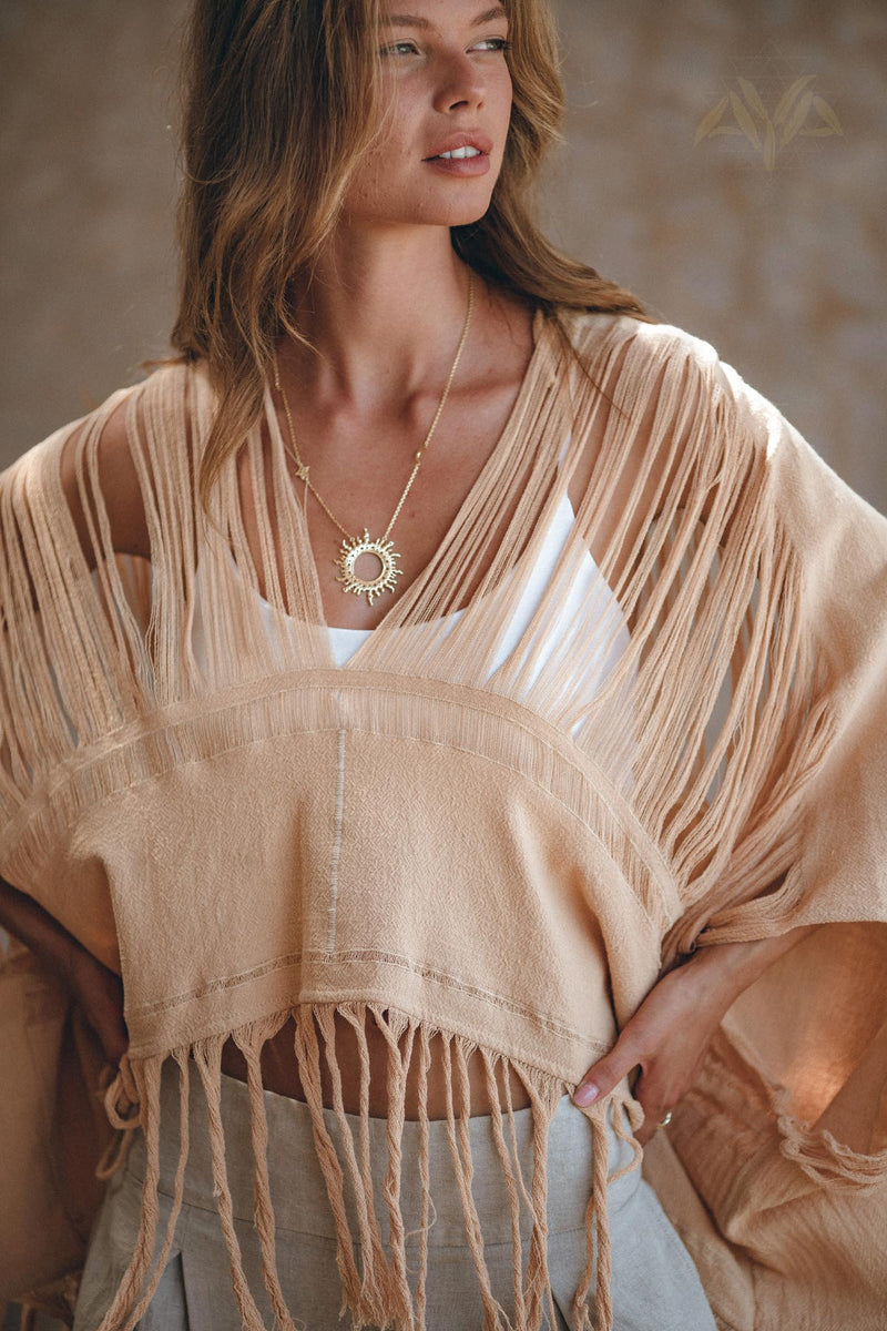 New! Boho Top • Bohemian Top • Boho Cover Up Women • Hand Loomed Cotton Blouse - aya.eco
