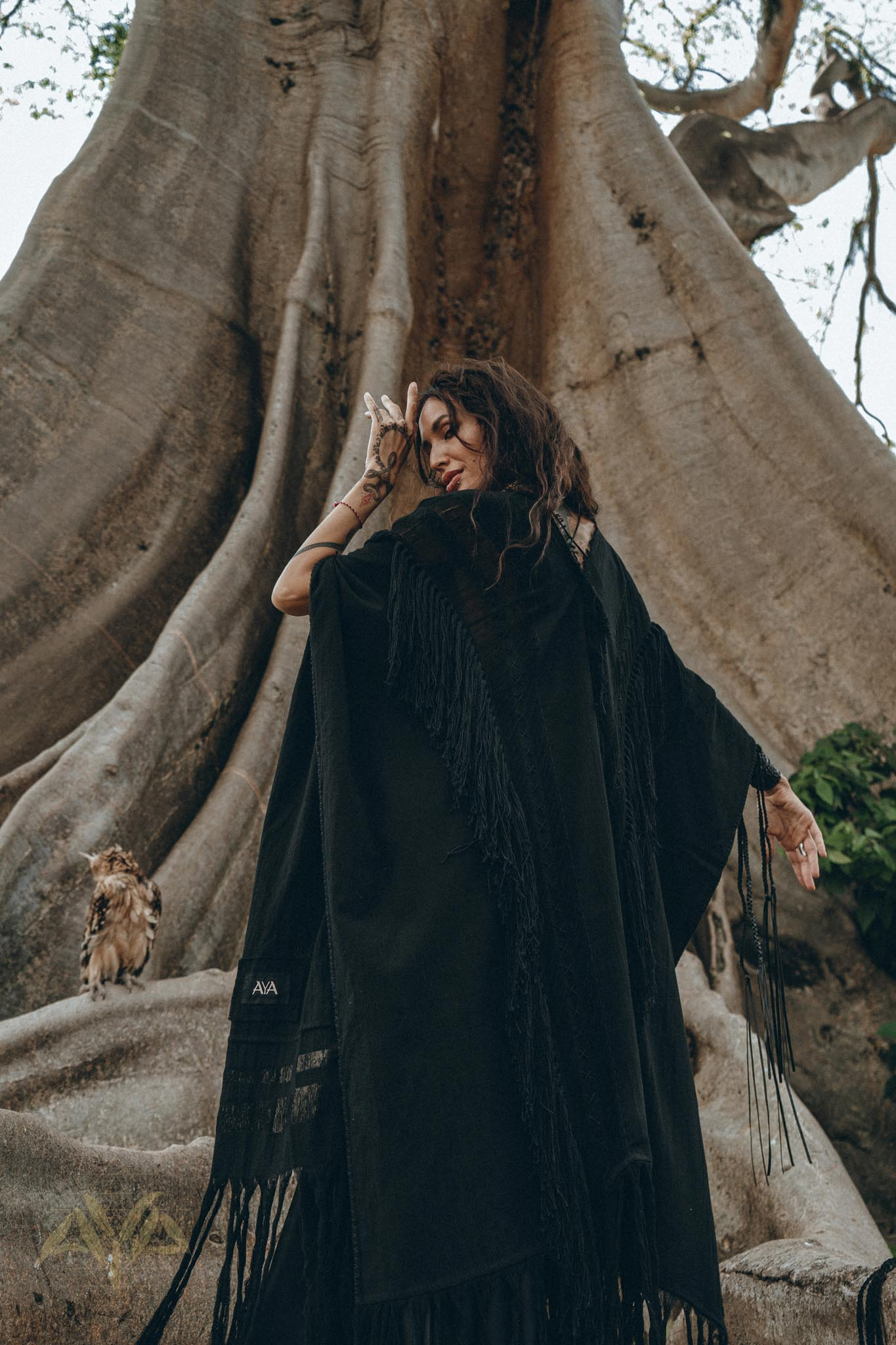 NEW! Black Boho Poncho • Long Poncho Robe Cardigan • Maternity Cover up Cardigan - aya.eco