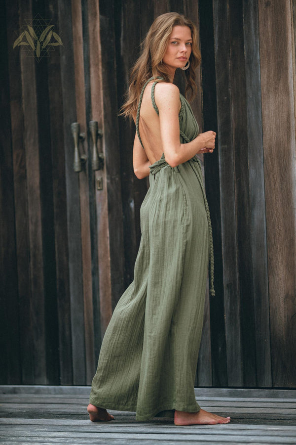 Brand New! Sage Green Braided Belted Jumpsuit, Overalls Women, Apron Dress - aya.eco