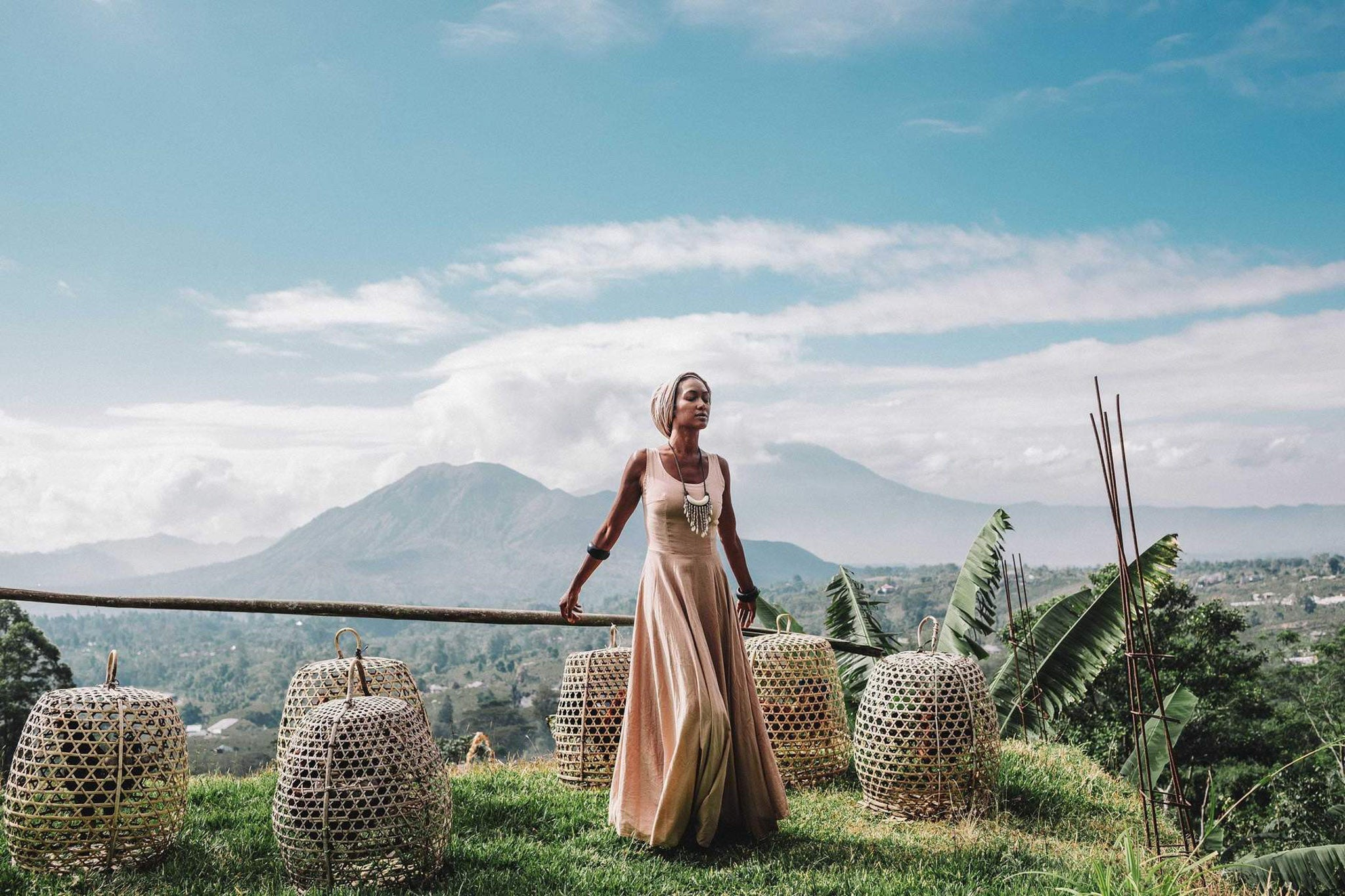 "Cream Pink Maxi Bridesmaid Dress  ""Madre Tierra"" - AYA Sacred Wear"