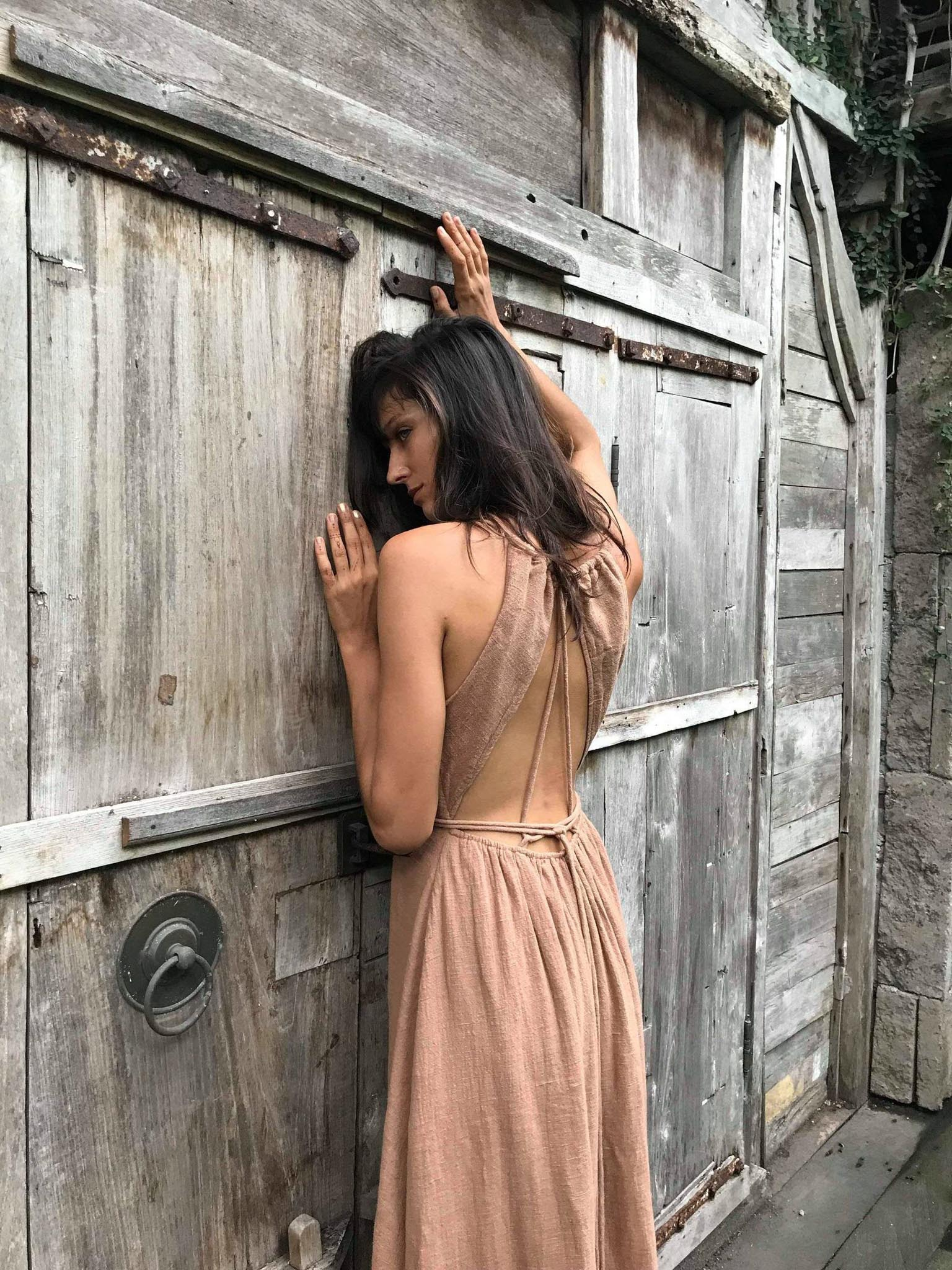 Dusty Pink Boho Bridesmaid Dress • Open Back Elegant Dress - AYA Sacred Wear