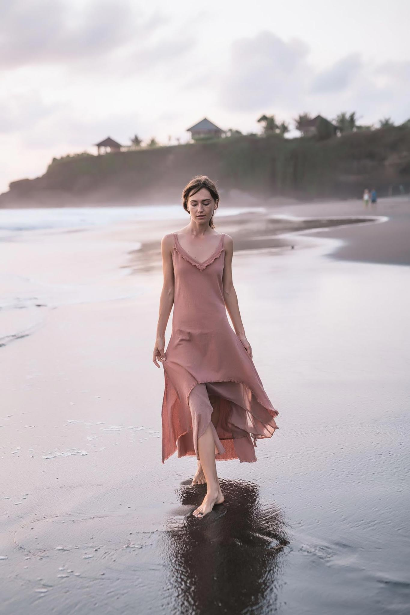 Rose Bridesmaid Dress • Midi Pink Casual Dress - aya.eco