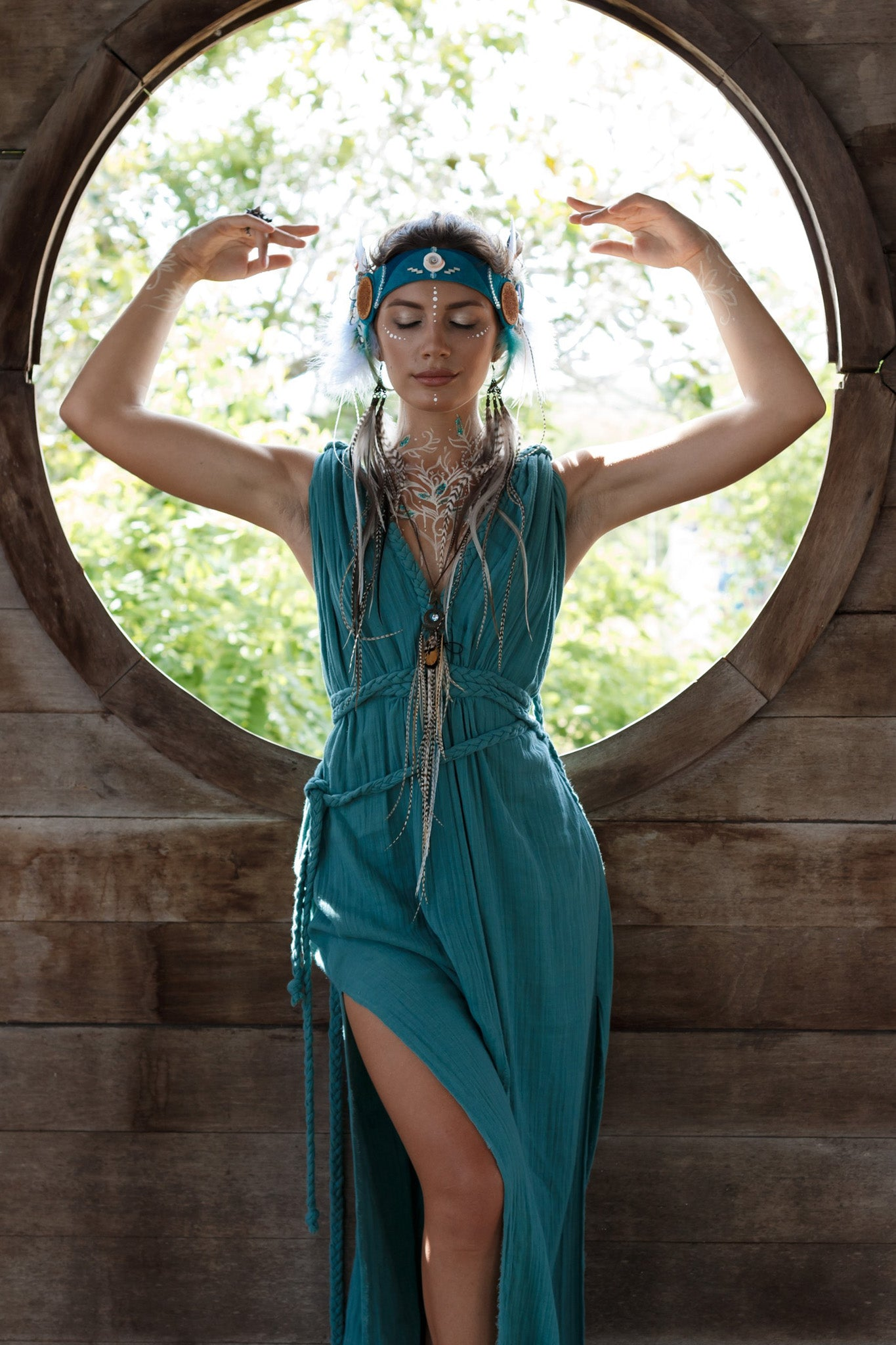 Turquoise Nomad Spirit Dress - aya.eco
