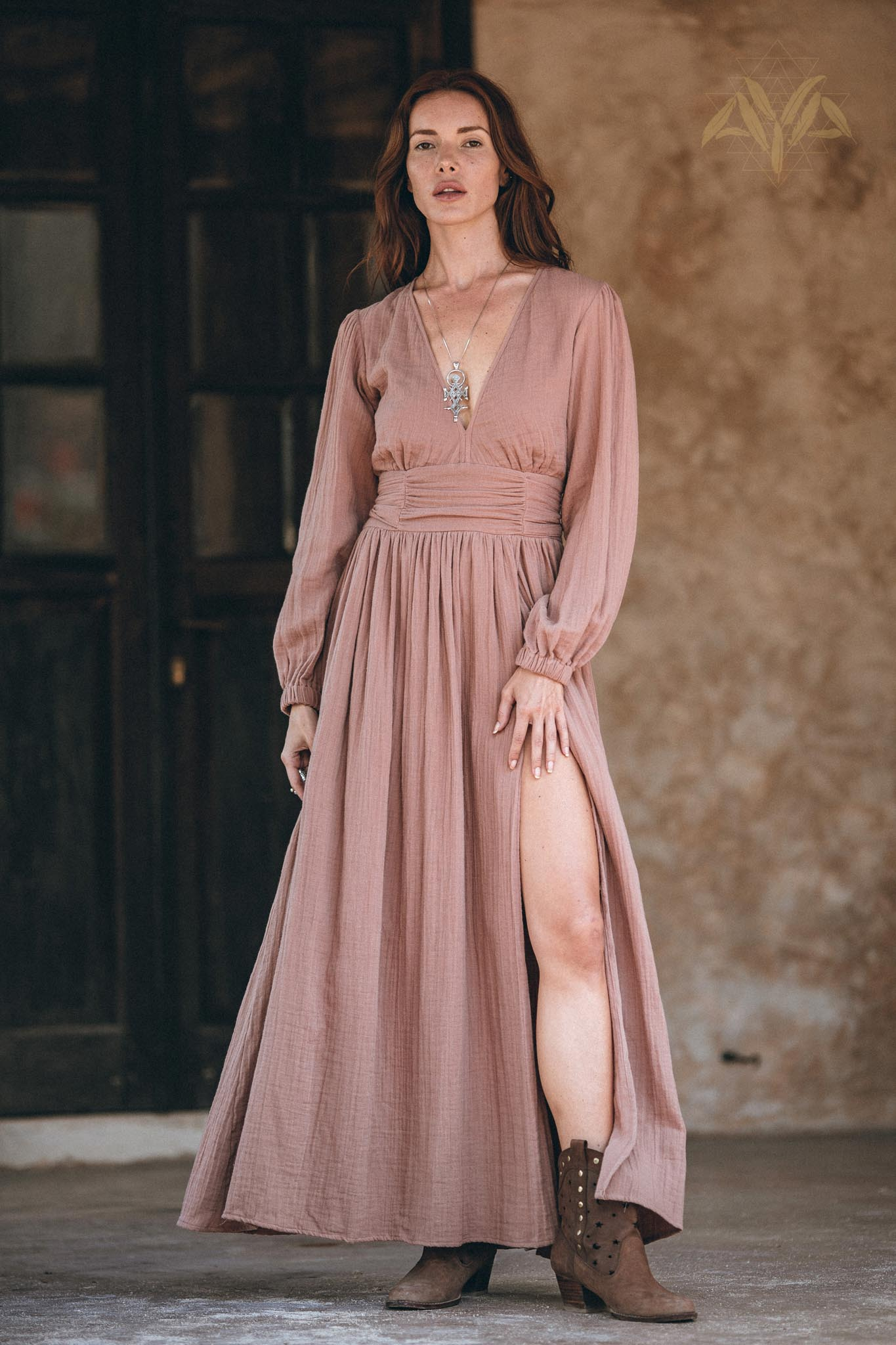 New! Long Sleeve Organic Boho Dress • Bridesmaid Dress • Bohemian Dress - aya.eco