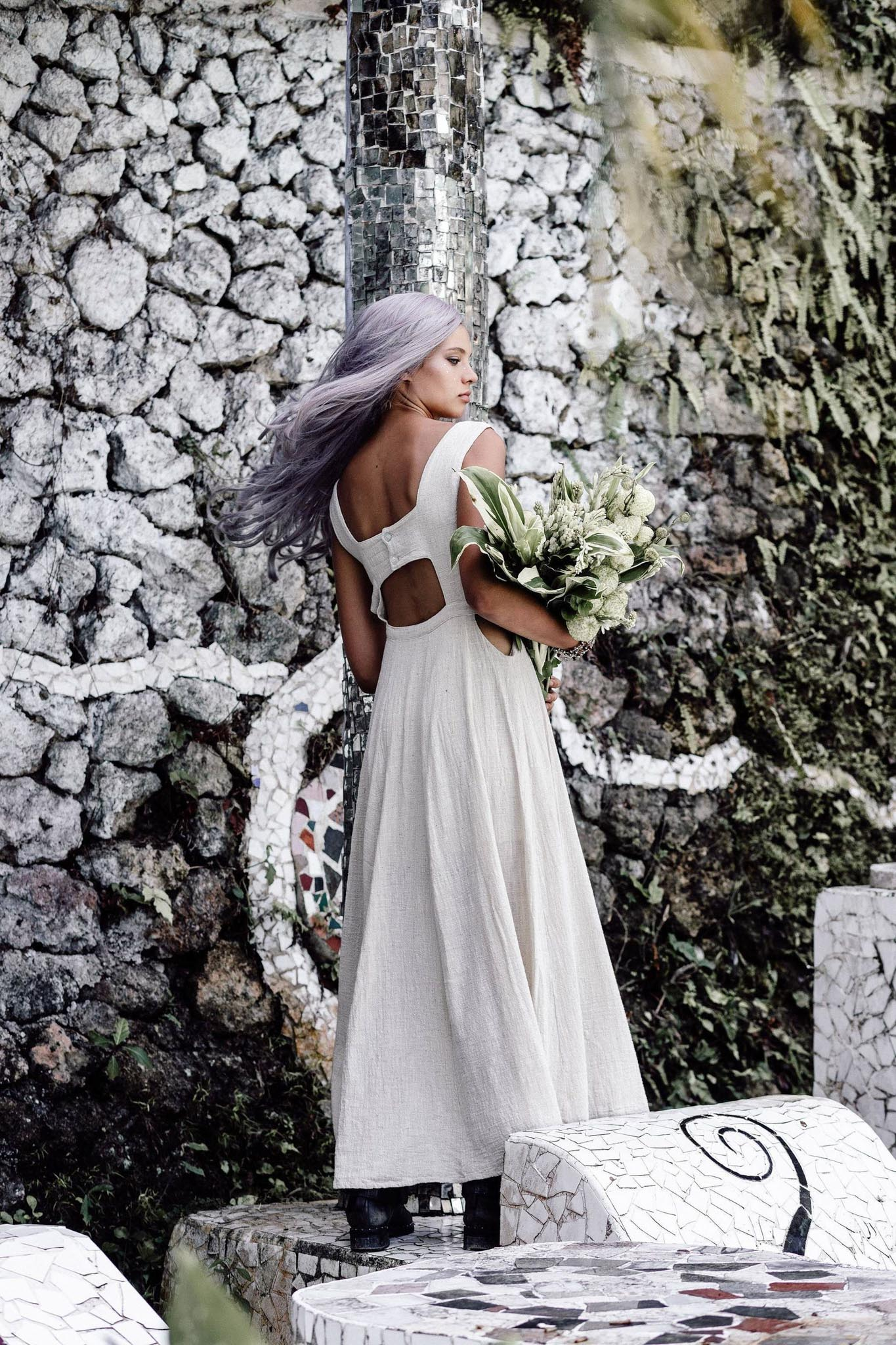 Long Boho Simple Wedding Dress - AYA Sacred Wear  Edit alt text