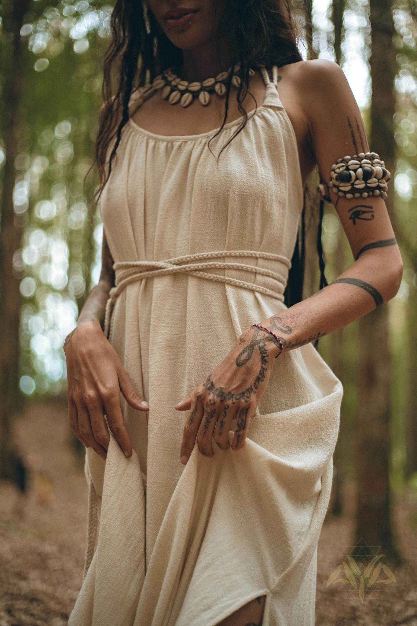 NEW! Off-White Organic Cotton Bohemian Dress • Simple Wedding Dress - AYA Sacred Wear