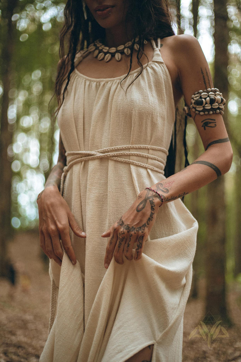 NEW! Off-White Organic Cotton Bohemian Dress • Simple Wrap Wedding Dress - aya.eco
