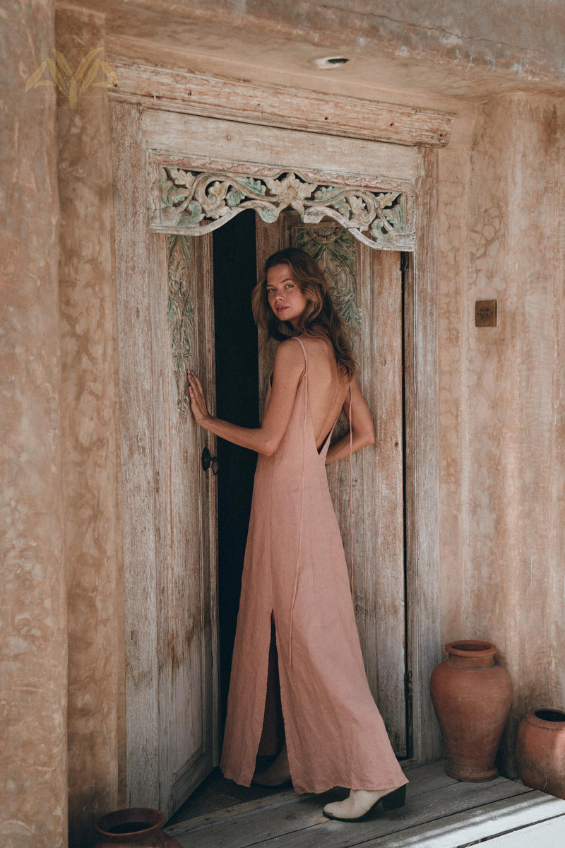 New! Linen Boho Bridesmaid Dress • Pink Linen Bohemian Slip Dress - aya.eco