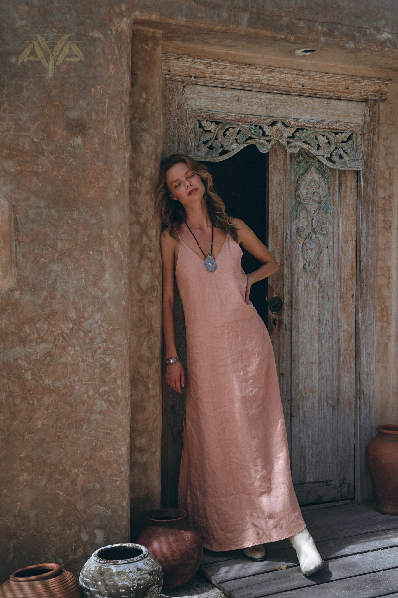 Linen Boho Bridesmaid Dress • Pink Linen Bohemian Slip Dress - AYA Sacred Wear