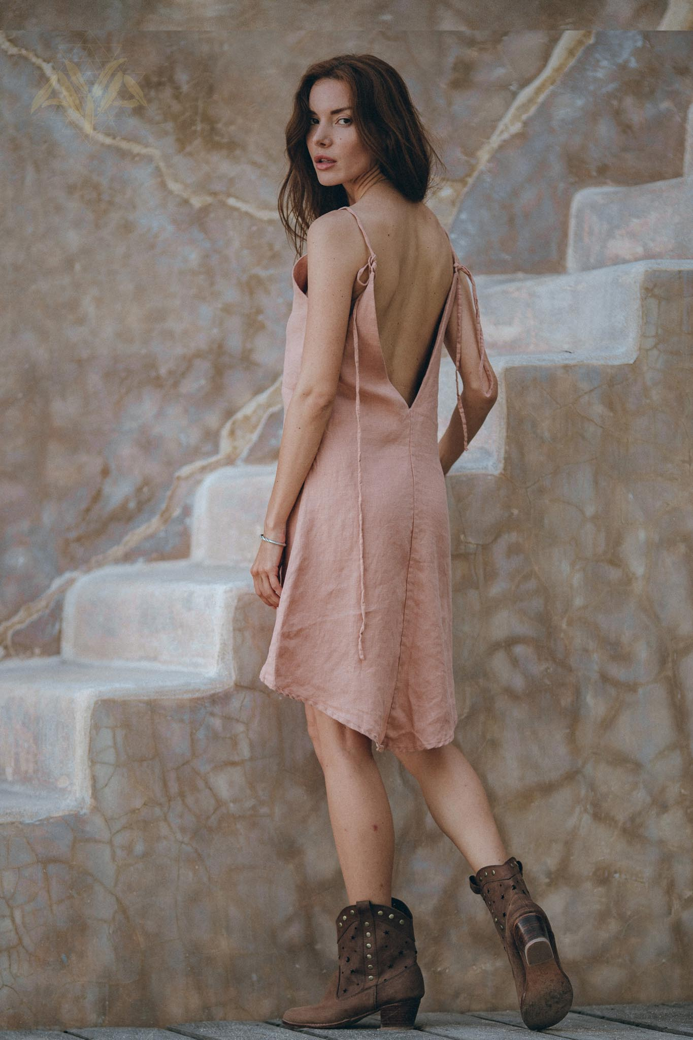 New! Linen Boho Bridesmaid Dress • Pink Linen Bohemian Slip Mini Dress - AYA Sacred Wear