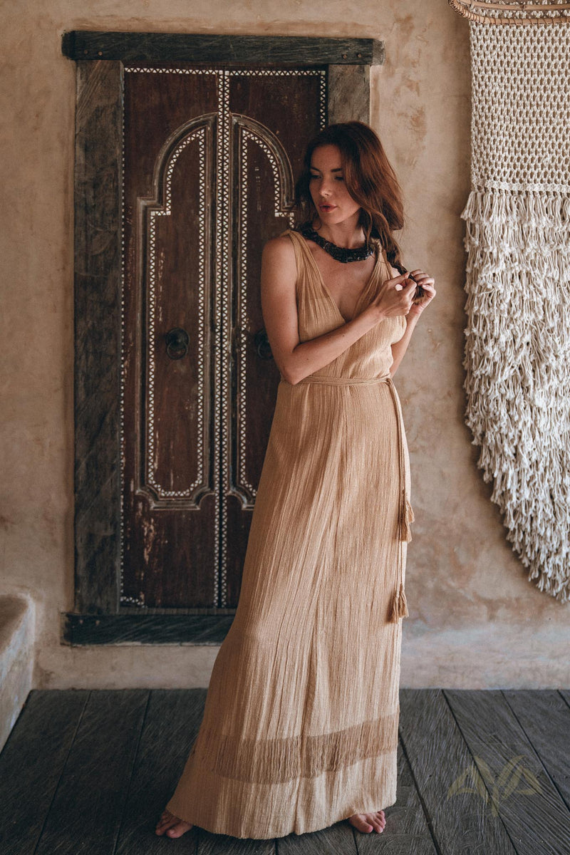 NEW! Boho Dress for Woman • Long Maxi Bohemian Dress • Beige Sandal Organic Dress - aya.eco