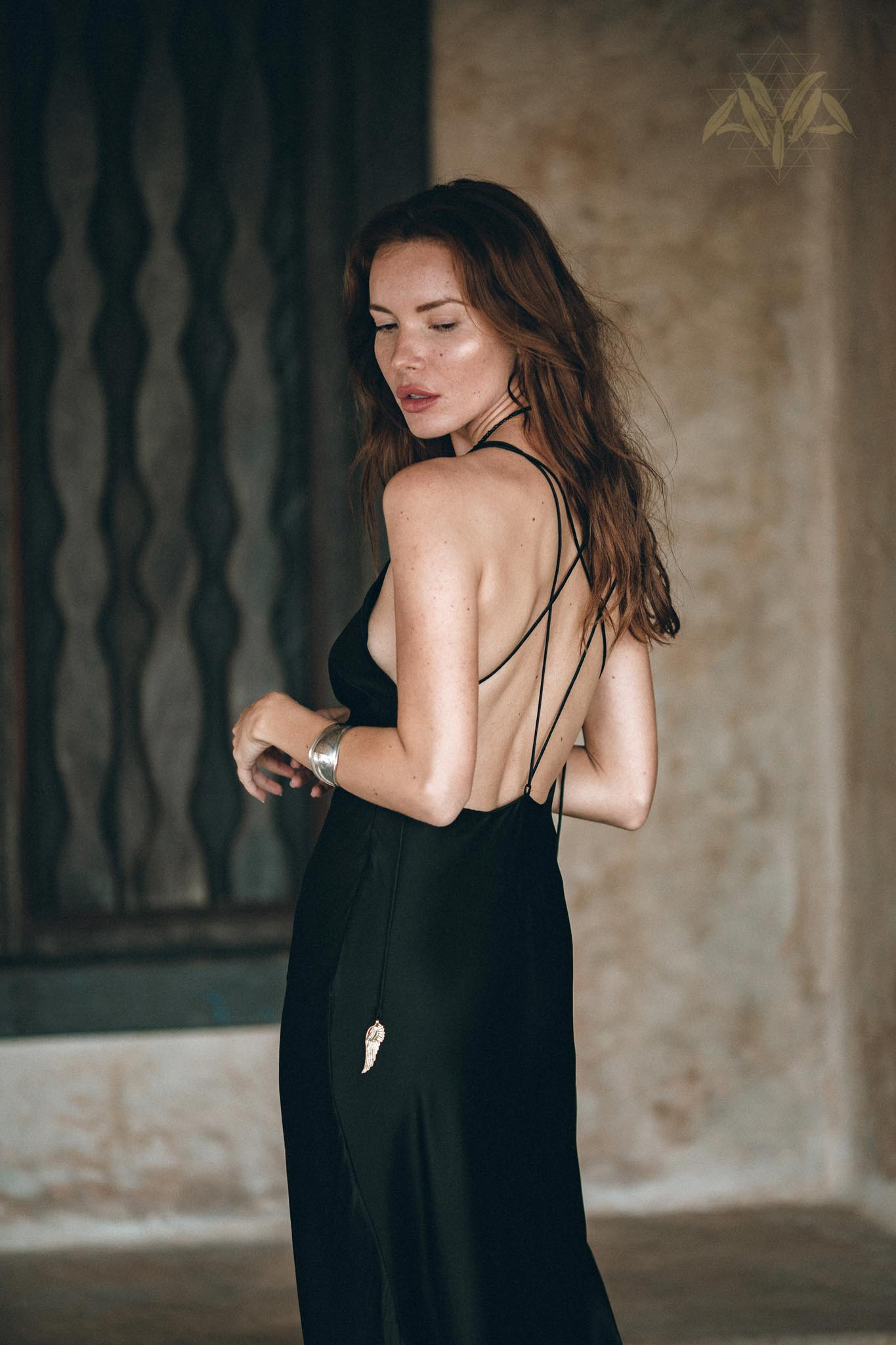 Silk Slip Dress • Natural Silk Boho Dresses Women • Black Long Maxi Dress - AYA Sacred Wear