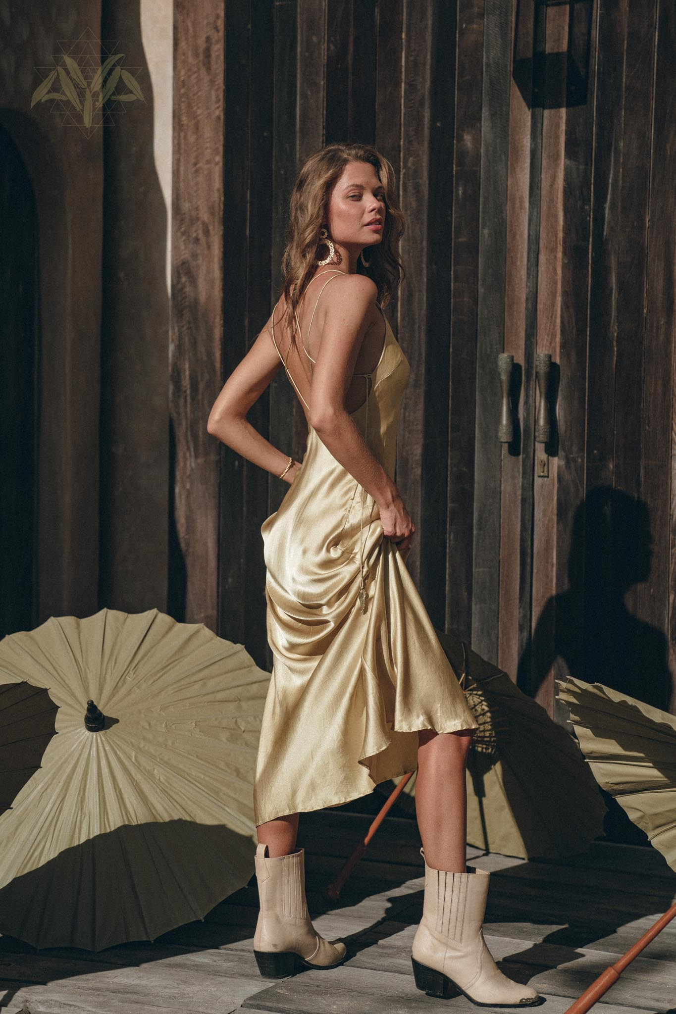 Golden Silk Slip Dress • Natural Silk Boho Dresses Women • Silk Long Maxi Dress - AYA Sacred Wear