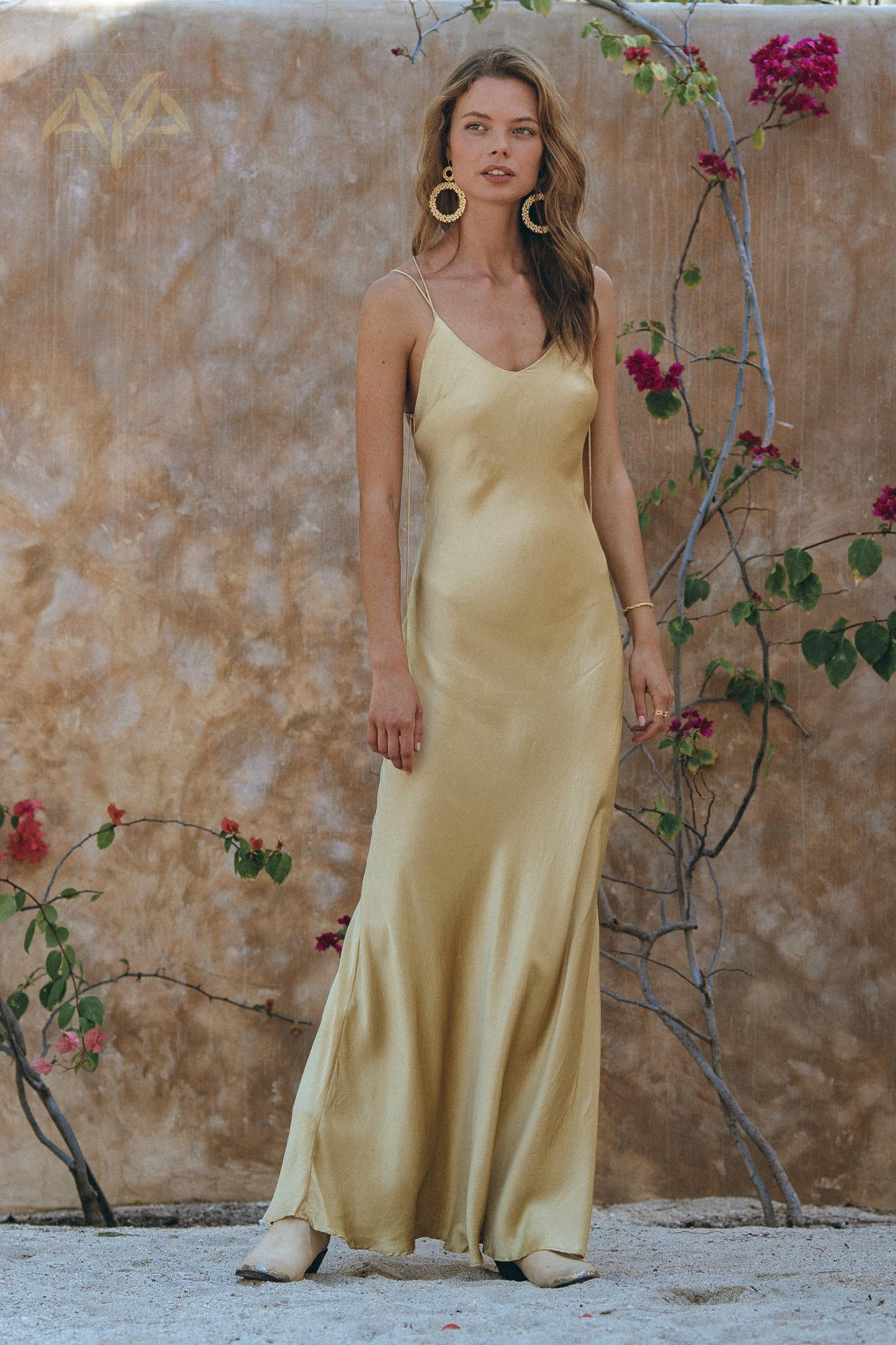 NEW! Golden Yellow Silk Slip Dress • Natural Silk Boho Dresses Women • Silk Long Maxi Dress - aya.eco