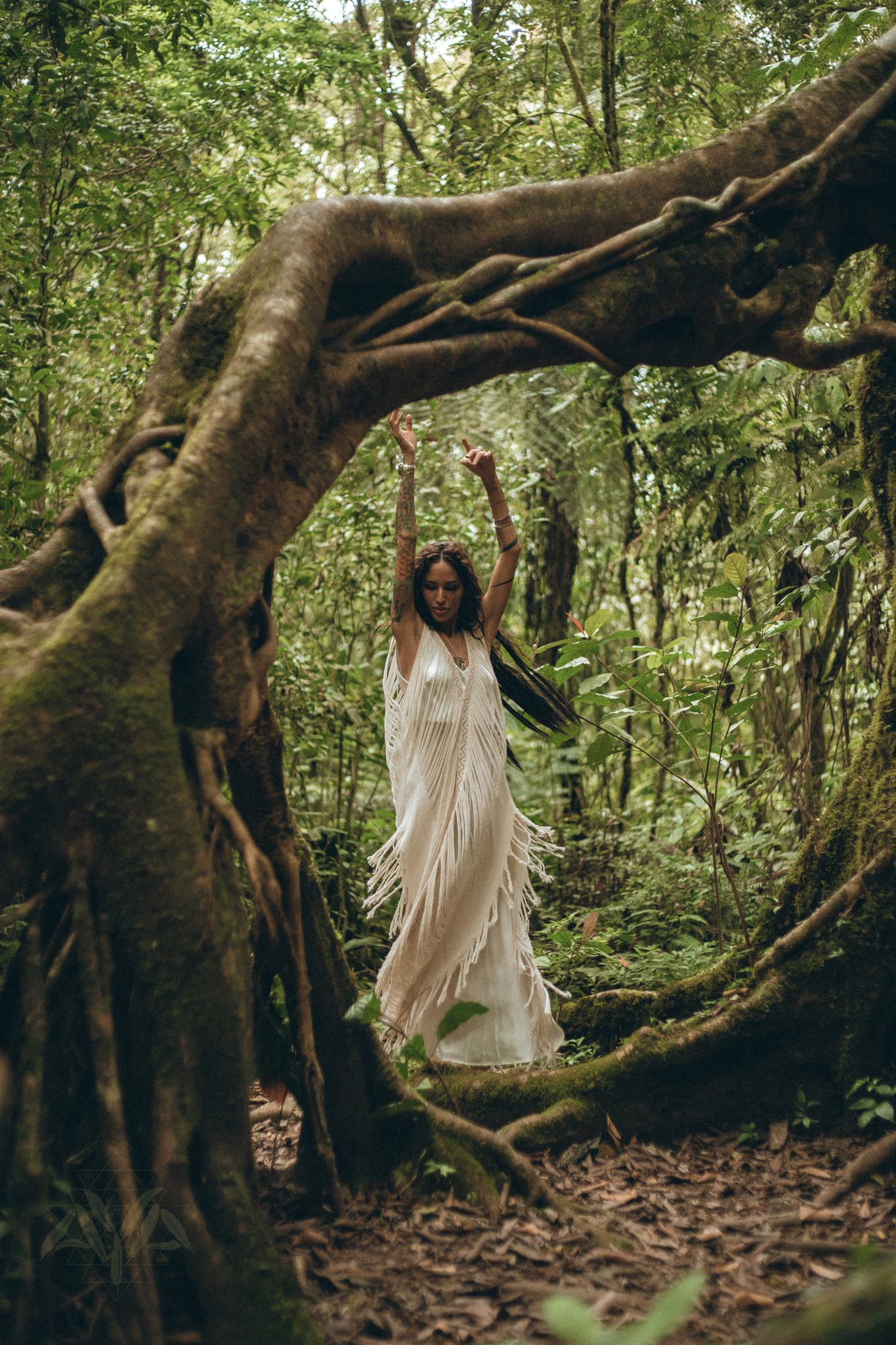 See Through Dress • Long Maxi Dress • Tribal Raw Cotton Cover-up - AYA Sacred Wear