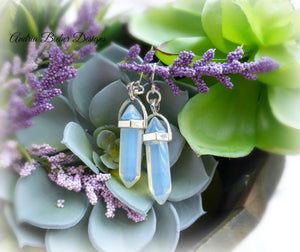 moonstone, glass, silver, sterling silver, earrings, jewelry, jewllery, boho, bohemian, handmade