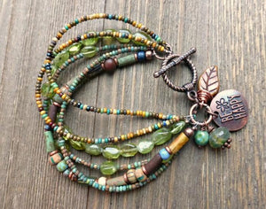 Boho, bohemian, bracelet, Czech glass, copper, wire wrapped, seed beads, beaded, accessories, handmade jewelry, jewellery