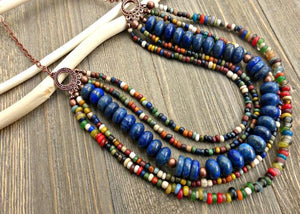 bohemian jewelry, jewellery, handmade, handcrafted, boho, Indonesian glass, stone, blue, indie, hippie