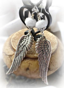 Sterling silver, wings, angel, glass, earrings, handmade jewelry, jewellery