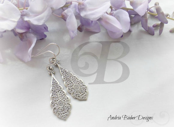 Sterling silver filigree earrings, handmade jewelry, jewellery