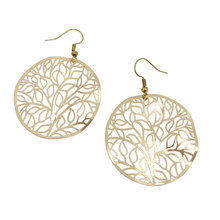 Load image into Gallery viewer, Gold, tree of life hoop earrings - Andria Bieber Designs