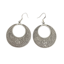Load image into Gallery viewer, Flower detailed, silver metal hoop style earrings, jewelry - Andria Bieber Designs, Earrings - Jewelry,  Andria Bieber Designs  - Andria Bieber Designs