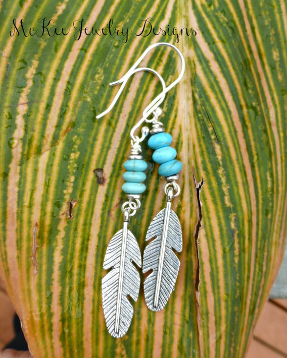 Feather charms in silver, blue turquoise stone and sterling silver earrings. - Andria Bieber Designs, Earrings - Jewelry,  McKee Jewelry Designs - Andria Bieber Designs