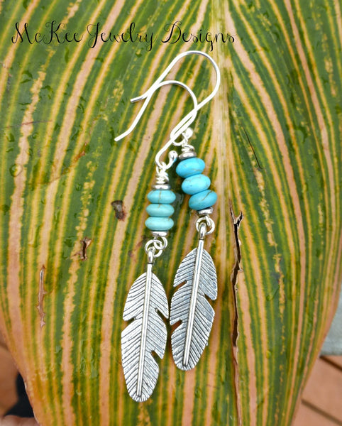 Sterling silver feather charms and Turquiose howlite stone earrings. -  - McKee Jewelry Designs - 1