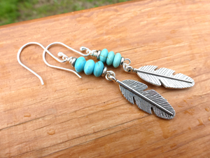Feather charms in silver, blue turquoise stone and sterling silver earrings. - Andria Bieber Designs, Earrings - Jewelry,  Andria Bieber Designs  - Andria Bieber Designs