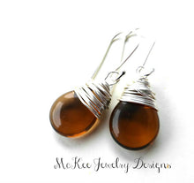 Load image into Gallery viewer, Brown transparent pear Czech glass, silver wire wrapped, sterling silver earrings. - Andria Bieber Designs, Earrings - Jewelry,  Andria Bieber Designs  - Andria Bieber Designs