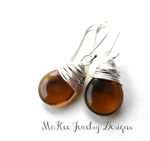 Brown transparent pear Czech glass, silver wire wrapped, sterling silver earrings. - Andria Bieber Designs, Earrings - Jewelry,  Andria Bieber Designs  - Andria Bieber Designs