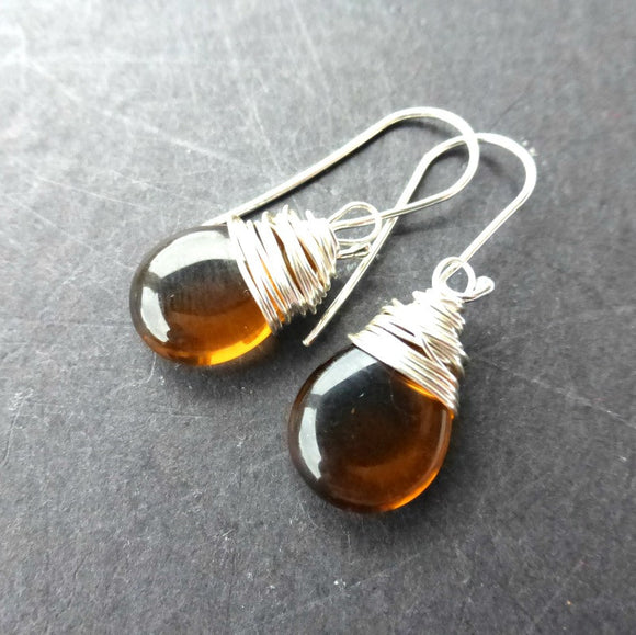 Brown transparent pear Czech glass, silver wire wrapped, sterling silver earrings. - Andria Bieber Designs, Earrings - Jewelry,  McKee Jewelry Designs - Andria Bieber Designs