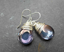 Load image into Gallery viewer, Purple luster Czech glass teardrop and silver wrapped earrings. Sterling silver small jewelry. - Andria Bieber Designs