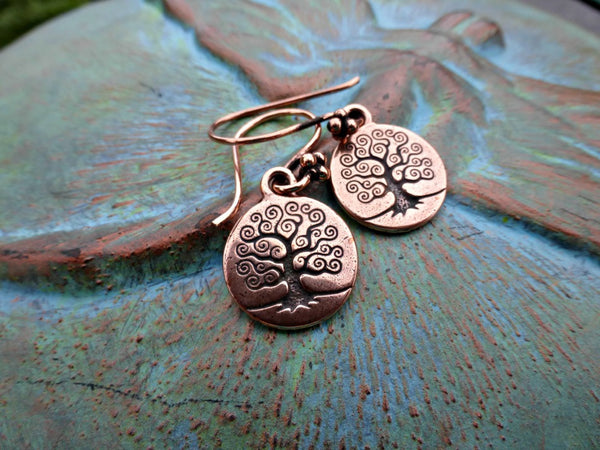 Copper tree of life earrings. Small lightweight earrings.  Yoga, bohemian. Handmade jewelry. - McKee Jewelry Designs