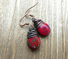 Load image into Gallery viewer, Red, blue and turquoise teardrop Czech glass and copper wire wrapped earrings. - Andria Bieber Designs, Earrings - Jewelry,  Andria Bieber Designs  - Andria Bieber Designs