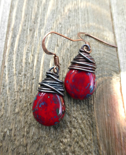 Red, blue and turquoise teardrop Czech glass and copper wire wrapped earrings. - Andria Bieber Designs, Earrings - Jewelry,  McKee Jewelry Designs - Andria Bieber Designs