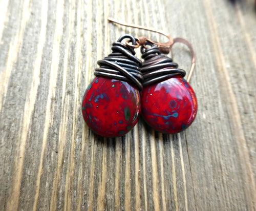 Red, blue and turquoise teardrop Czech glass and copper wire wrapped earrings. - Andria Bieber Designs, Earrings - Jewelry,  Andria Bieber Designs  - Andria Bieber Designs