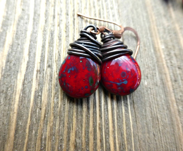 Copper Wire Wrapped Czech Glass Teardrops in red, blue and turquoise earrings. - McKee Jewelry Designs
