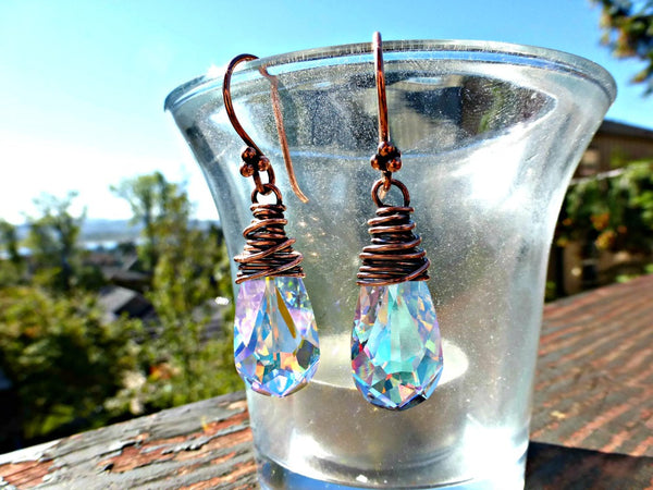 Copper Wire Wrapped, Swarovski Teardrop Crystal Aurora Borealis earrings. - McKee Jewelry Designs