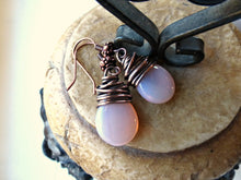 Load image into Gallery viewer, Pink transparent teardrop Czech Picasso glass, antiqued copper wire wrapped earrings. - Andria Bieber Designs, Earrings - Jewelry,  Andria Bieber Designs  - Andria Bieber Designs