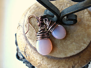 Pink transparent teardrop Czech Picasso glass, antiqued copper wire wrapped earrings. - Andria Bieber Designs, Earrings - Jewelry,  Andria Bieber Designs  - Andria Bieber Designs