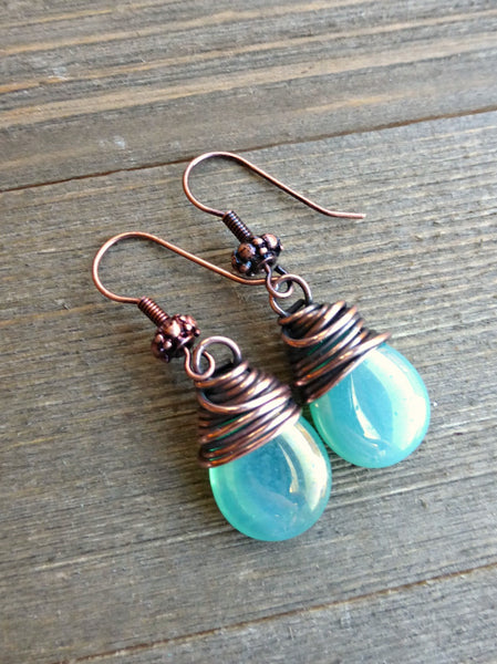 Teal green transparent Czech Picasso glass teardrop, copper wire wrapped earrings. -  - McKee Jewelry Designs - 4