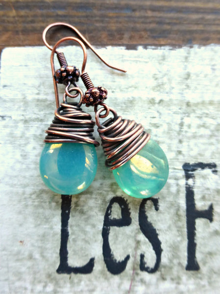Teal green transparent Czech Picasso glass teardrop, copper wire wrapped earrings. -  - McKee Jewelry Designs - 1