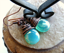 Load image into Gallery viewer, Teal green transparent Czech Picasso glass teardrop, copper wire wrapped earrings. - Andria Bieber Designs, Earrings - Jewelry,  Andria Bieber Designs  - Andria Bieber Designs